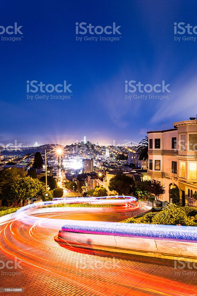 Night view of Lombard Street in San Francisco stock photo