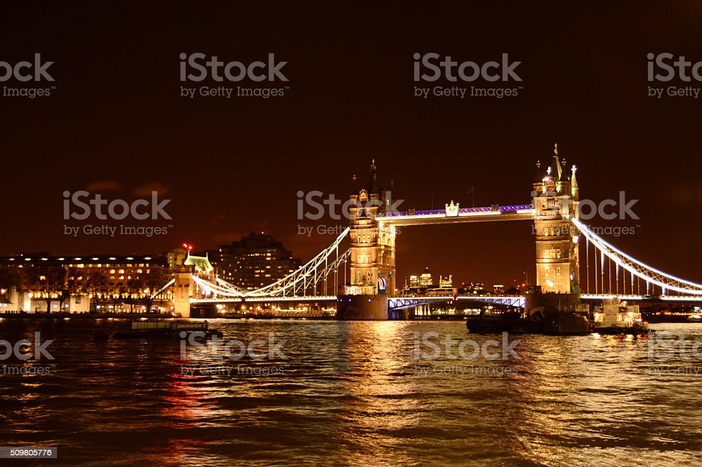 Night view of London Tower Bridge on Thames River in London stock photo
