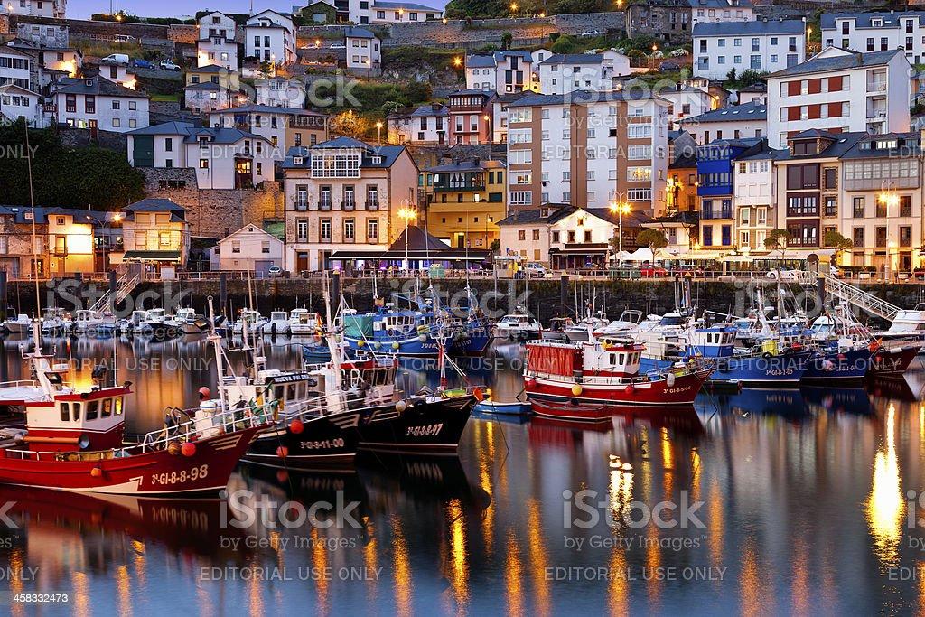Night view of Luarca in Asturias.Spain. stock photo