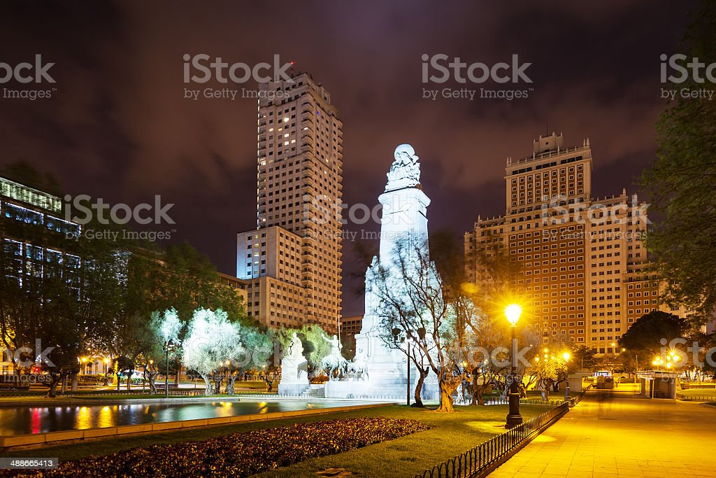 Night view of Madrid. Spain Square royalty-free stock photo