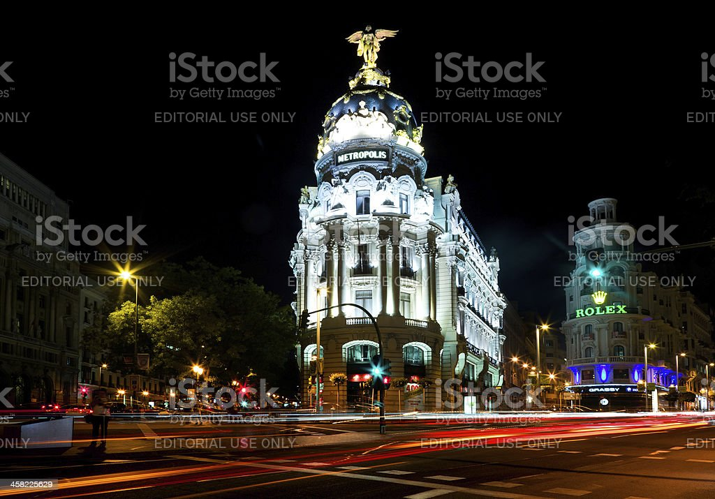 Night view of Madrid with Metropolis Building in Gran Via stock photo