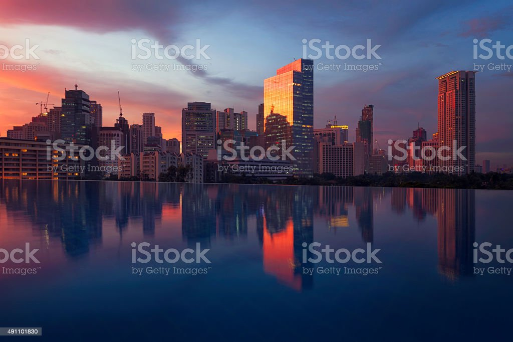 Night view of Makati financial district, Philippines stock photo
