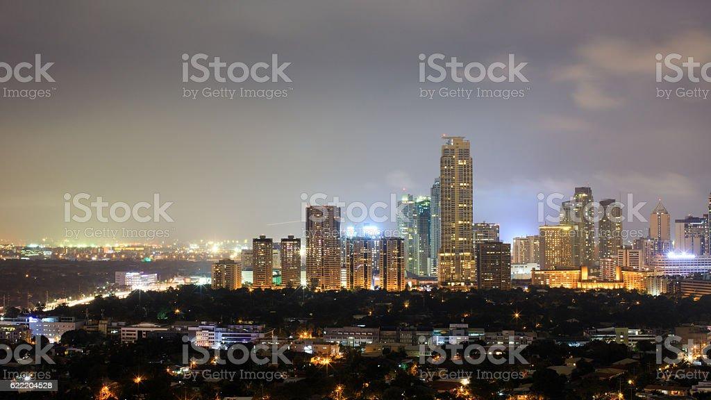 Night view of Makati, the business district of Metro Manila stock photo