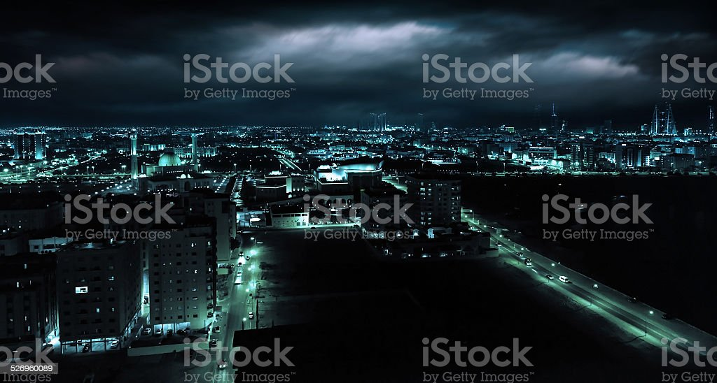 Night view of Manama, capital city of Bahrain, Middle East stock photo