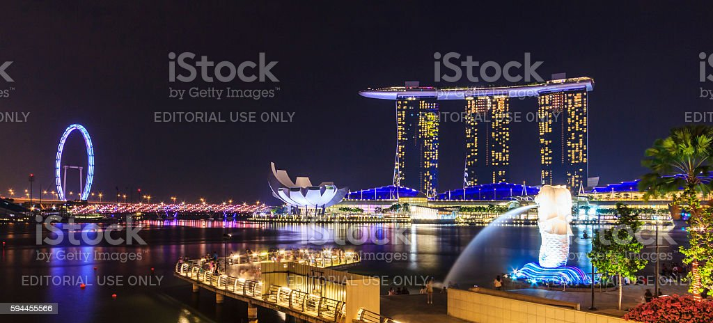 Night view of Marina Bay, urban skyline of Singapore stock photo