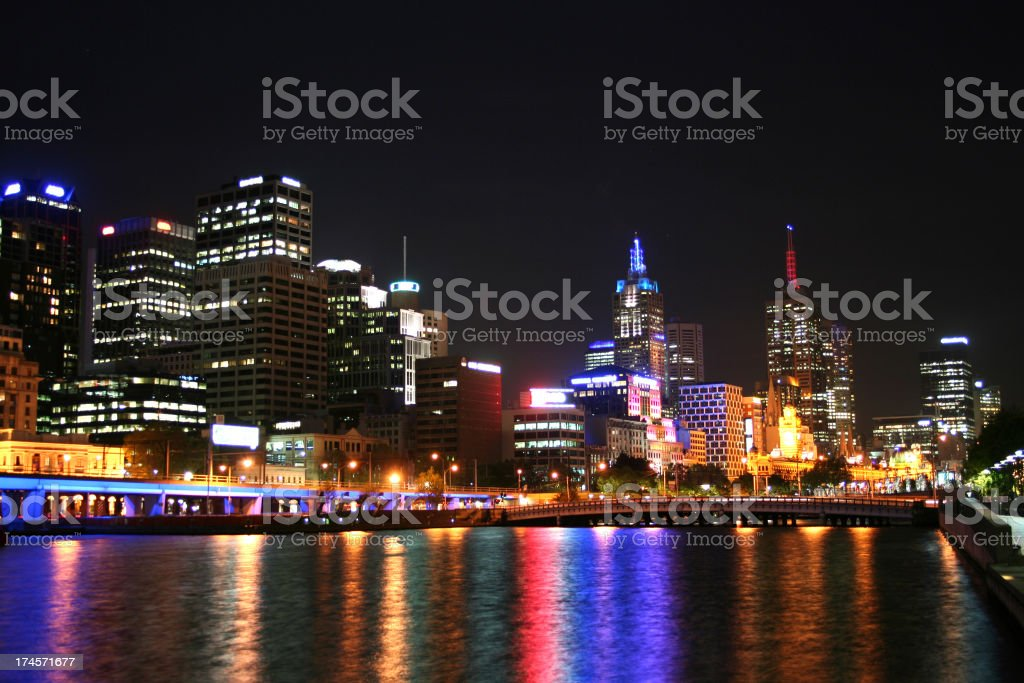 Night view of Melbourne city stock photo