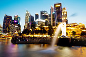Night view of Merlion fountain in Singapore