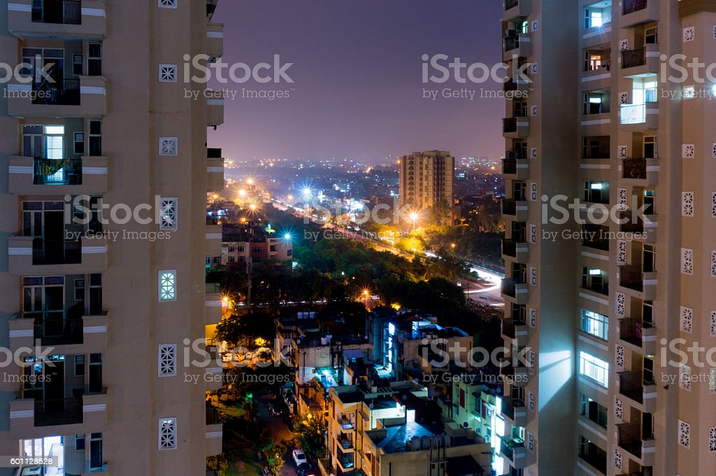 Night view of modern buildings in Noida stock photo