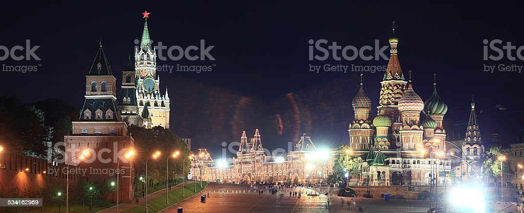 Night view of Moscow Kremlin Russian landscape stock photo