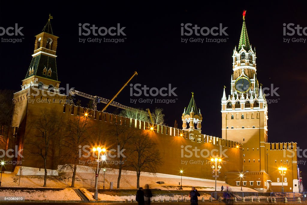 Night view of Moscow Red Square stock photo