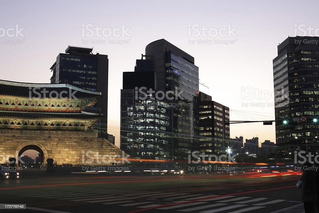Night view of Namdaemun Gate stock photo