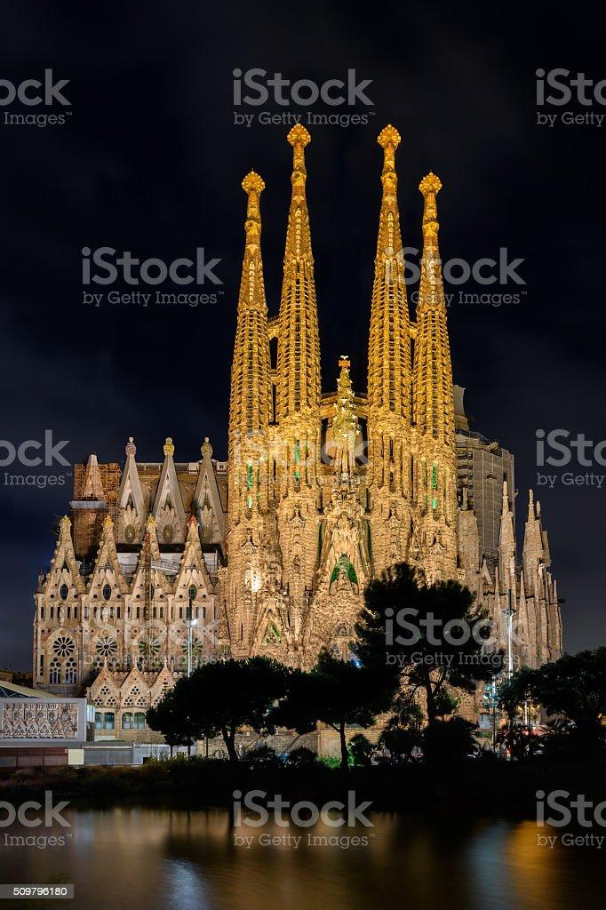 Night view of Nativity facade of Sagrada Familia cathedral in Barcelona stock photo