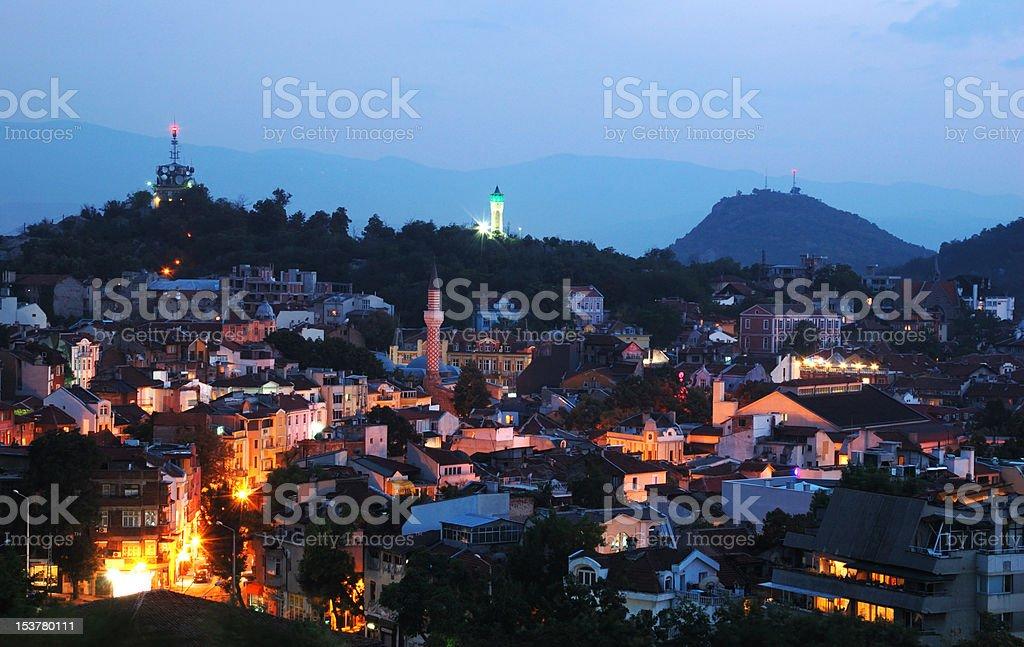 Night view of old Plovdiv cityscape, Bulgaria, Balkans,Southeastern Europe stock photo