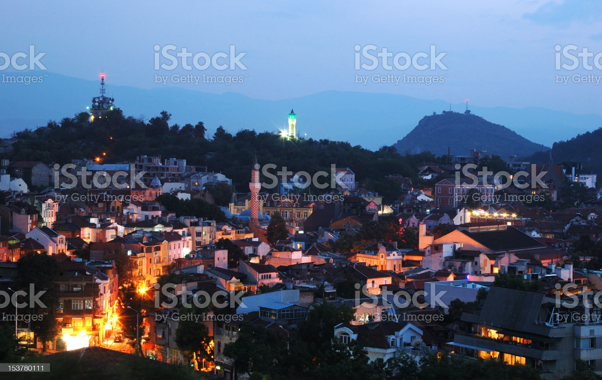 Night view of old Plovdiv cityscape, Bulgaria, Balkans,Southeastern Europe royalty-free stock photo