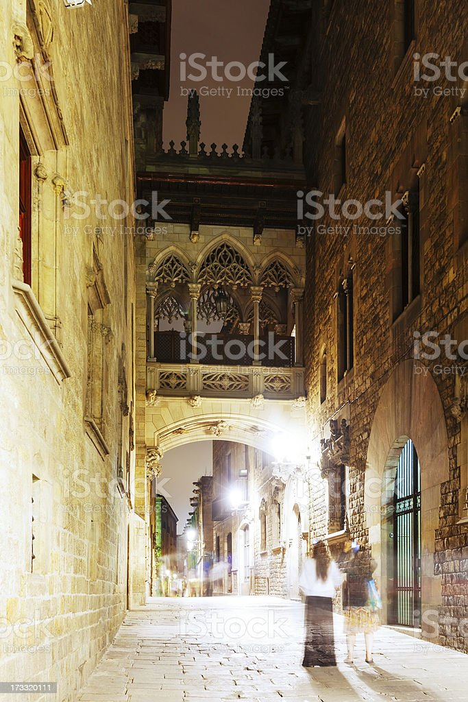 night view of Old street at Barrio Gotico royalty-free stock photo