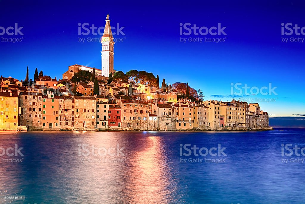 Night view of old town Rovinj, Croatia stock photo