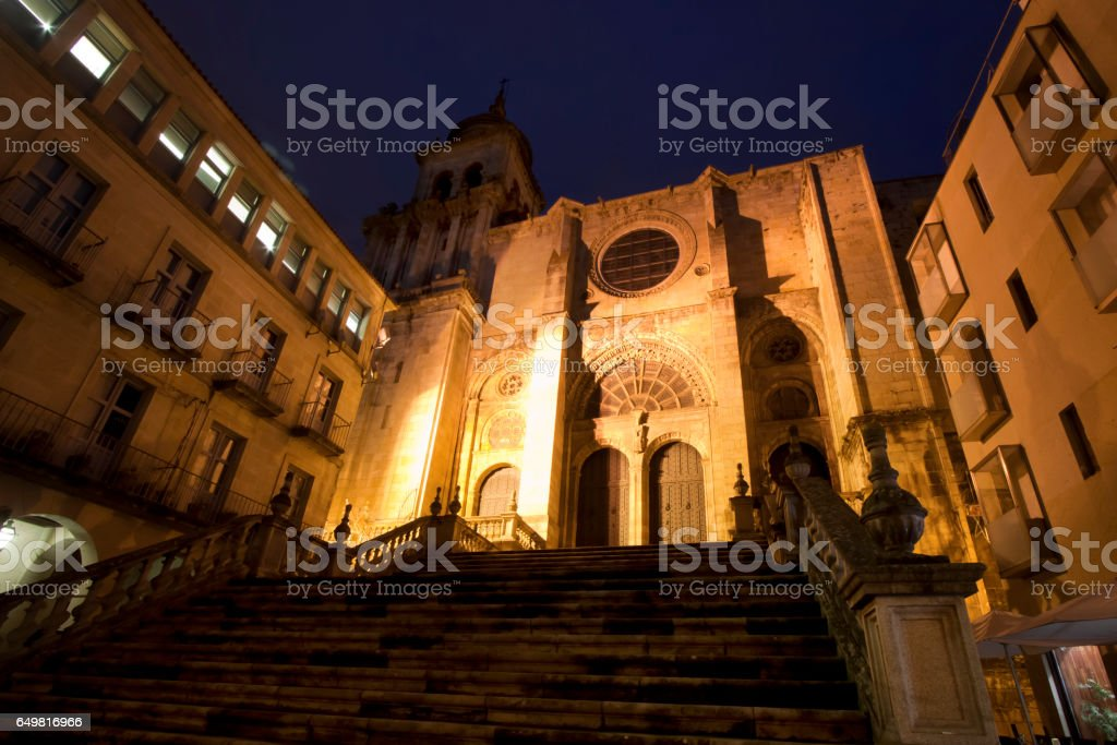 Night view of old town square, stairway and cathedral facade in Ourense, Galicia, Spain. stock photo