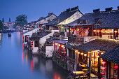 Night View of Old Water Village, Xitang, China