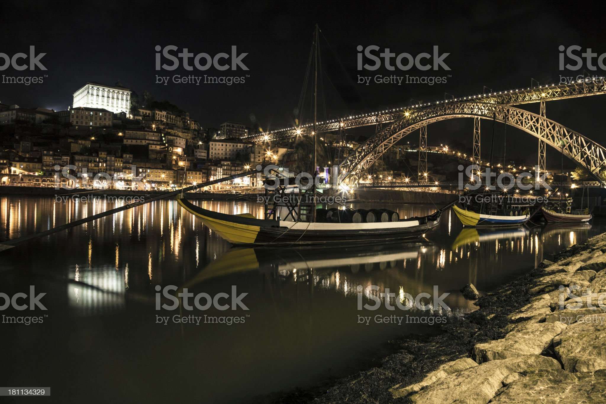 Night view of Oporto and Ribeira on The Douro River royalty-free stock photo