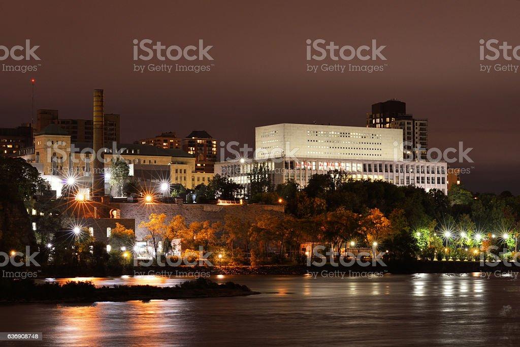 Night view of Ottawa from Gatineau stock photo
