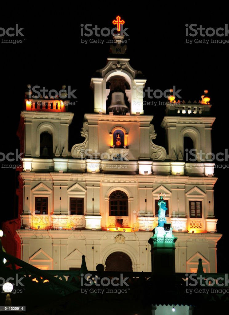 Night view of  Our Lady of the Immaculate Conception Church, Panaji, GOA, India stock photo