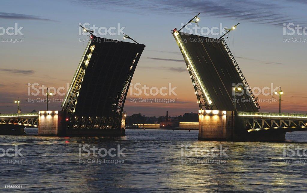 Night view of Palace Bridge stock photo