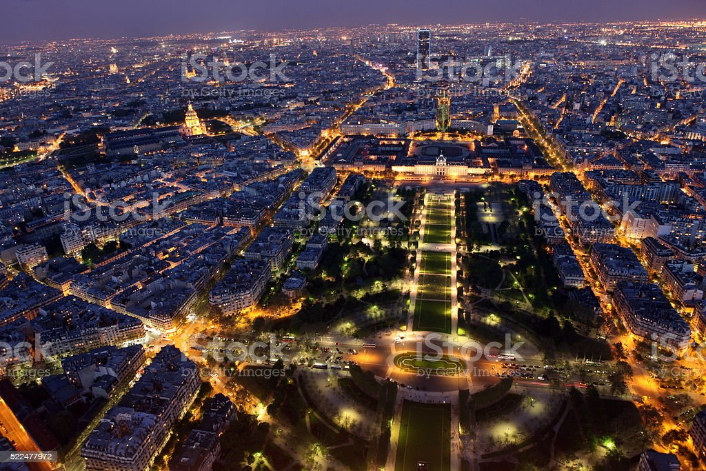 Night view of Paris from the Eiffel Tower stock photo