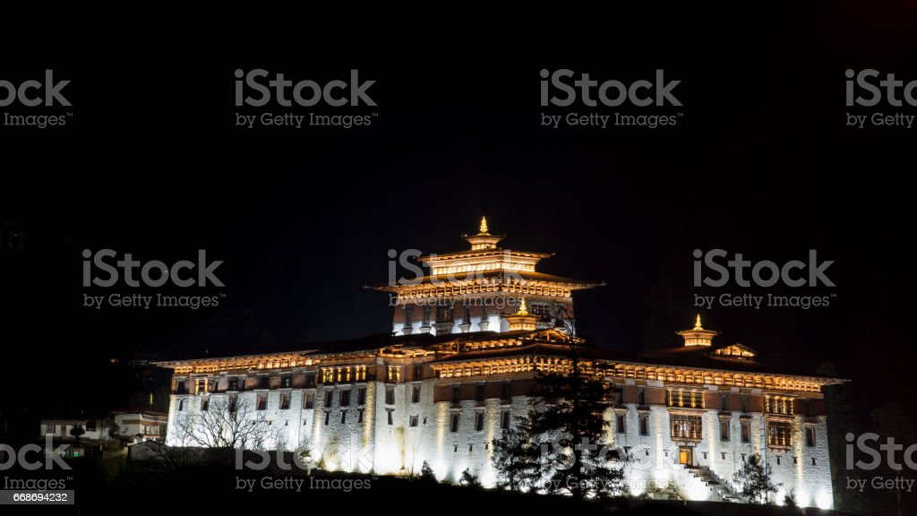 Night view of Paro Dzong stock photo