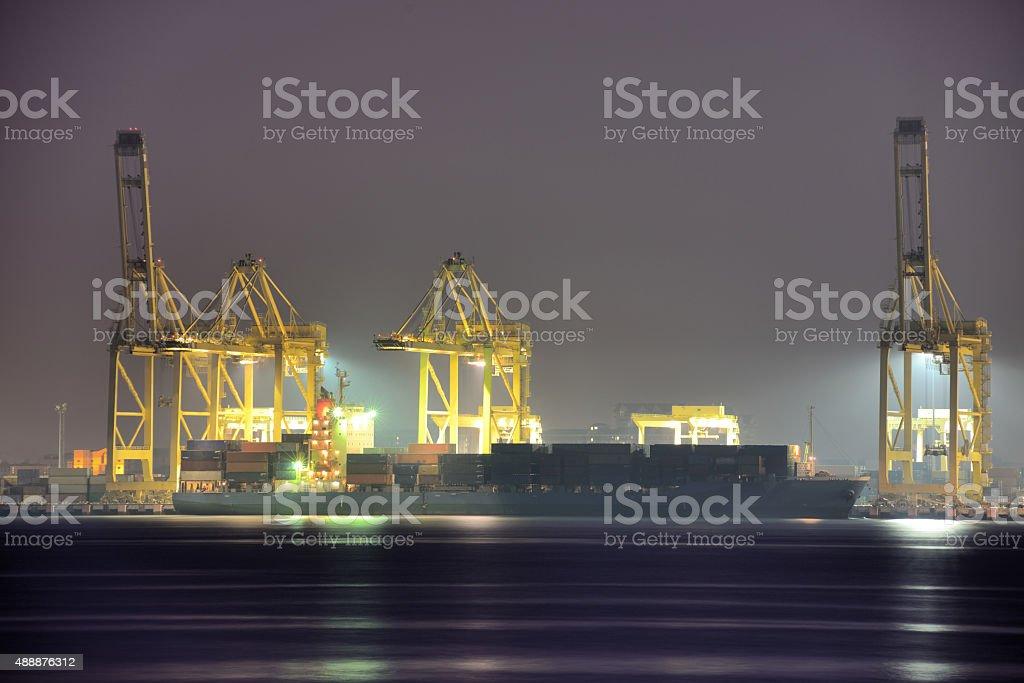 Night view of Penang Port, Malaysia stock photo