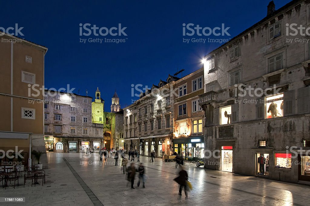 Night view of People's square in Split stock photo