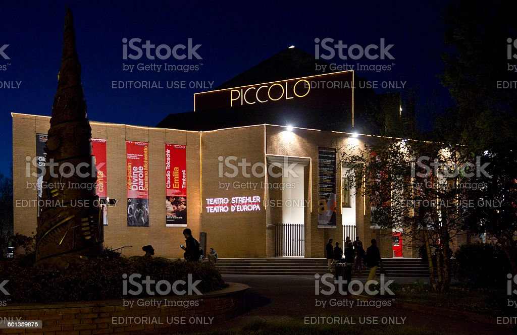 Night view of Piccolo Teatro in Milan stock photo