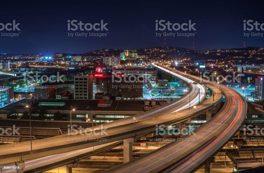 Night View of Pittsburgh stock photo