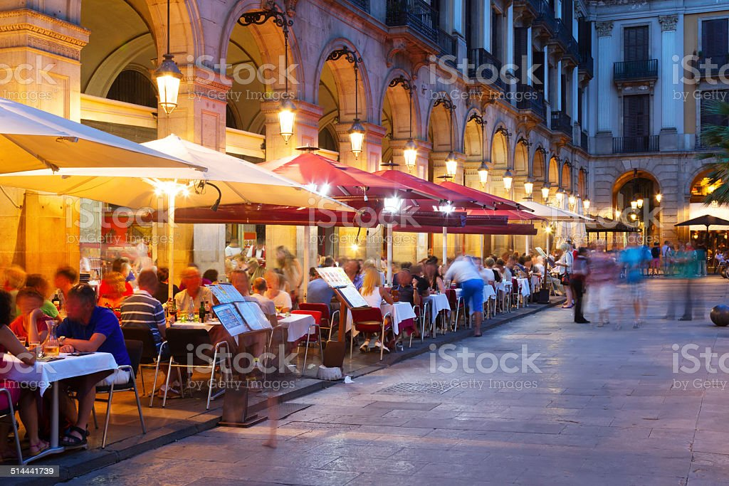 night view of Placa Reial  in Barcelona stock photo