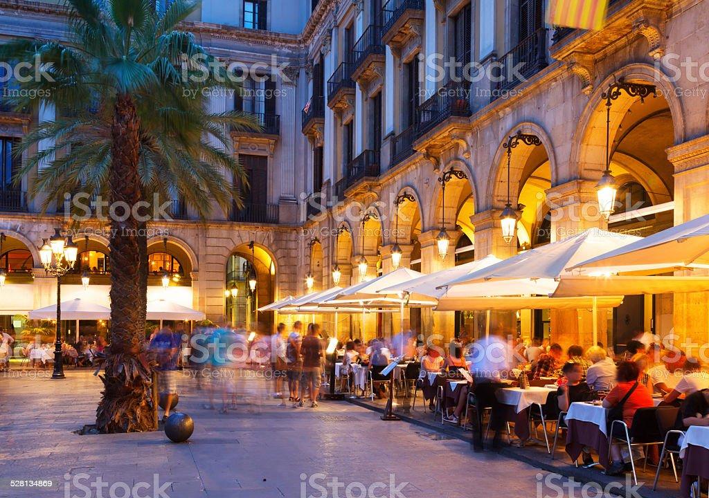 night view of Placa Reial stock photo