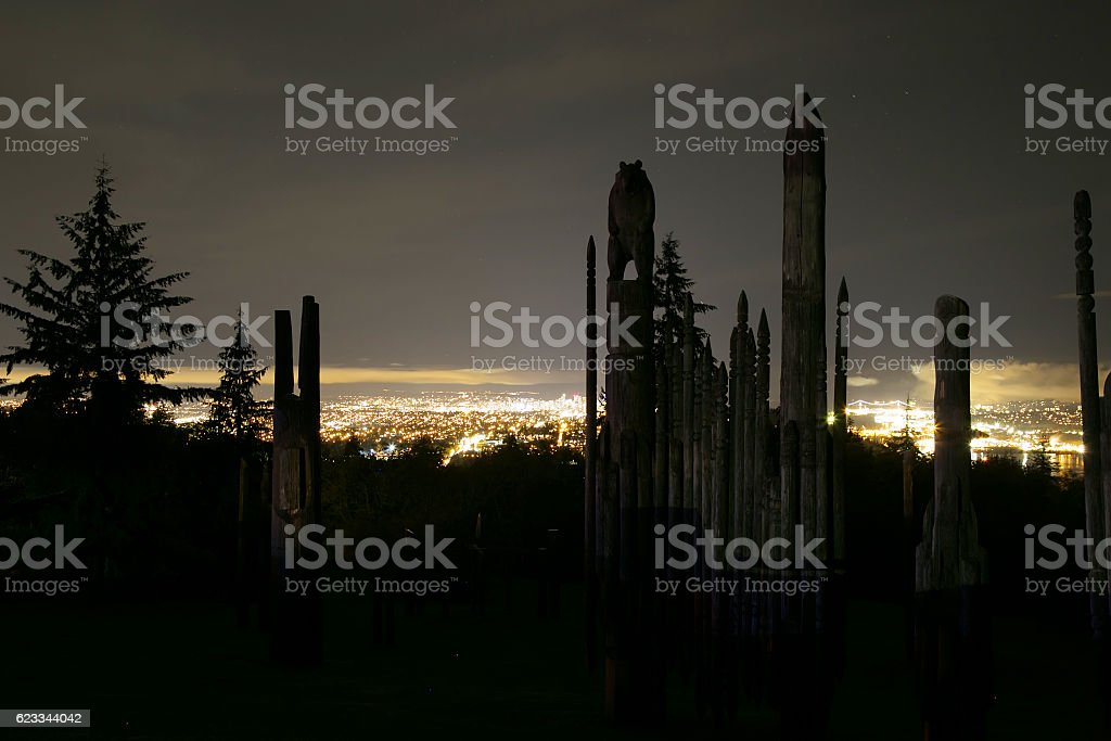 Night view of 'Playground of the Gods' on Burnaby Mountain stock photo