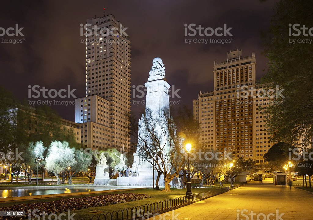 Night view of Plaza de Espana. Madrid stock photo