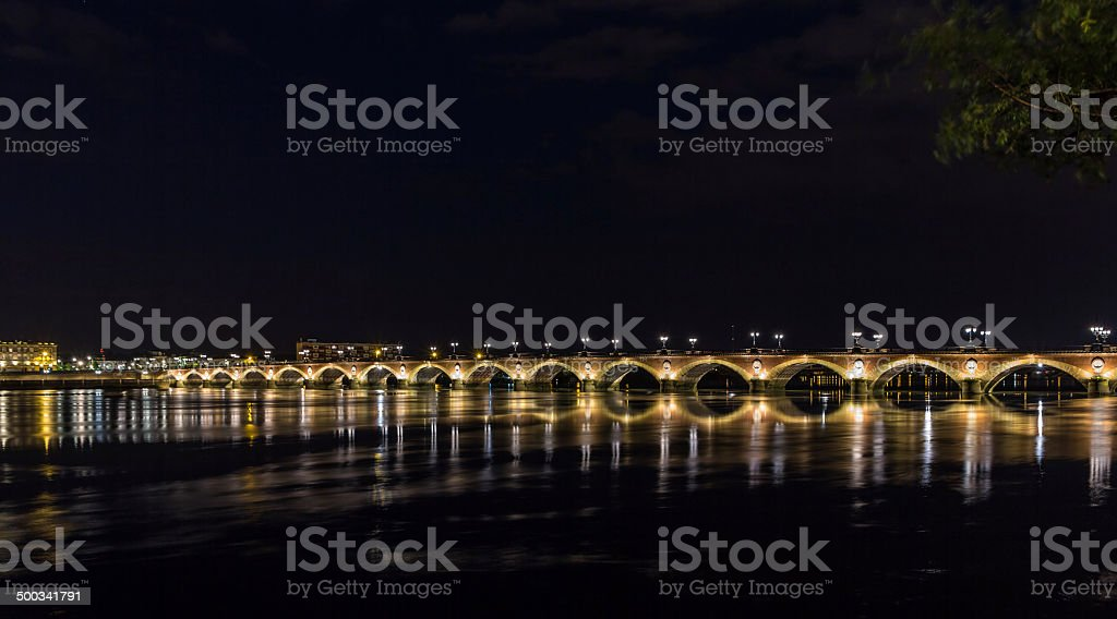 Night view of Pont de pierre in Bordeaux, France stock photo