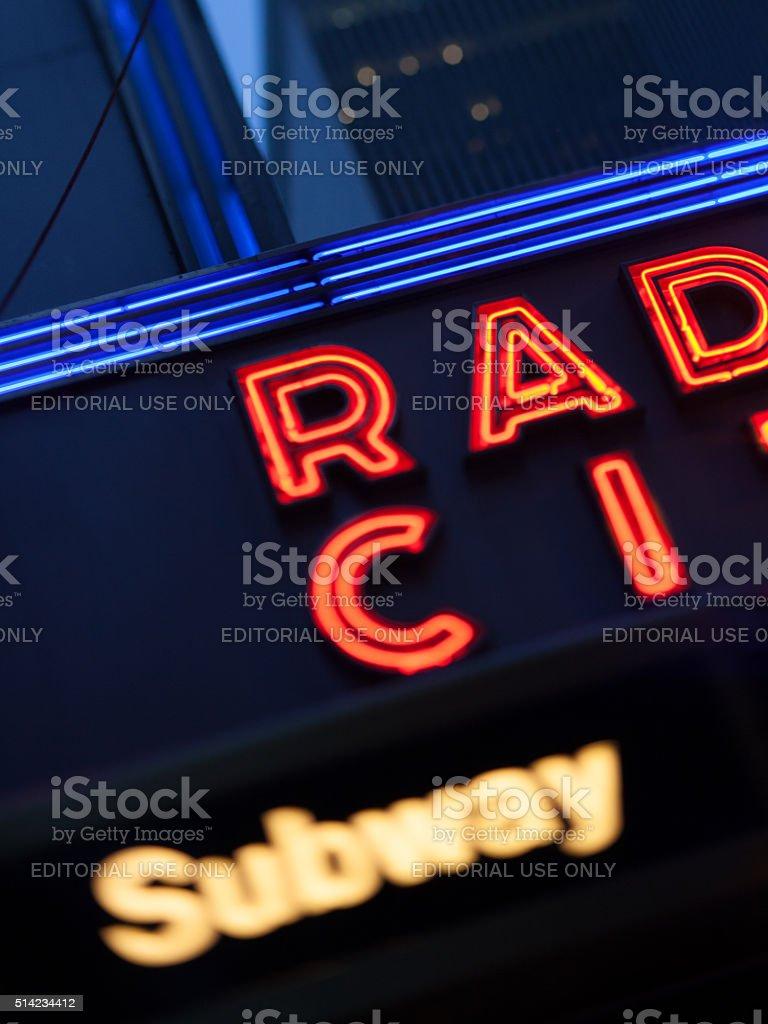 Night view of Radio City Music Hall in New York stock photo
