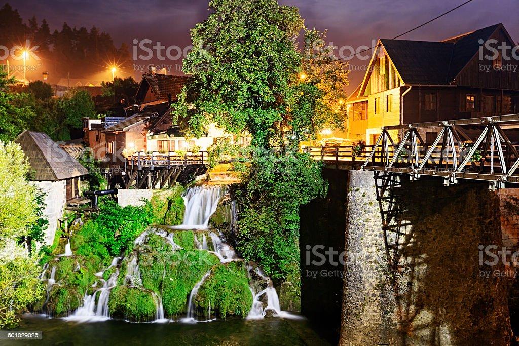 Night view of Rastoke, historic center of Croatian town Slunj stock photo