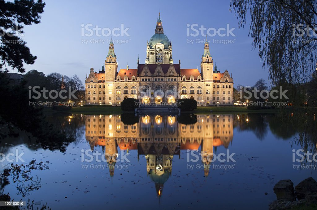 Night view of Rathaus in Hannover, Germany stock photo
