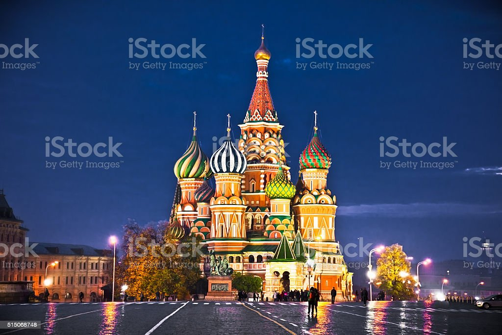 Night view of Red Square and Saint Basil Cathedral, Moscow stock photo