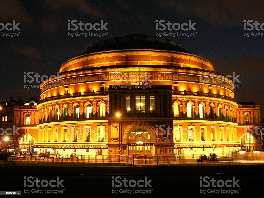 Night view of Royal Albert hall with lights high lighting stock photo