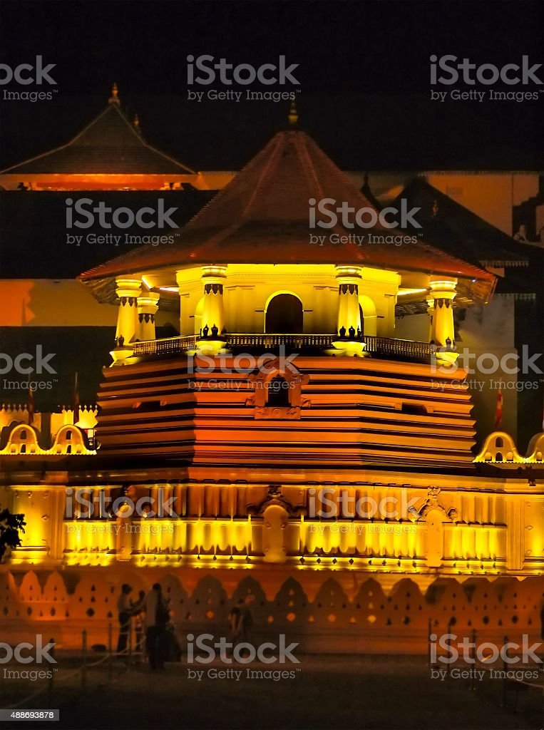 Night view of Sacred Tooth Relic Temple stock photo
