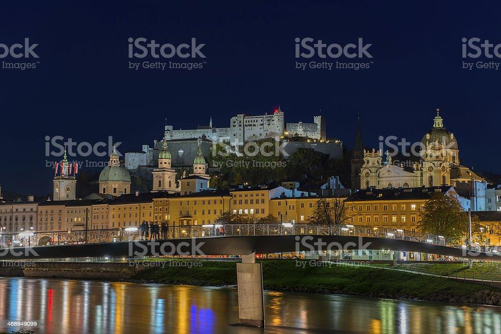 Night view of Salzburg old town, Austria stock photo
