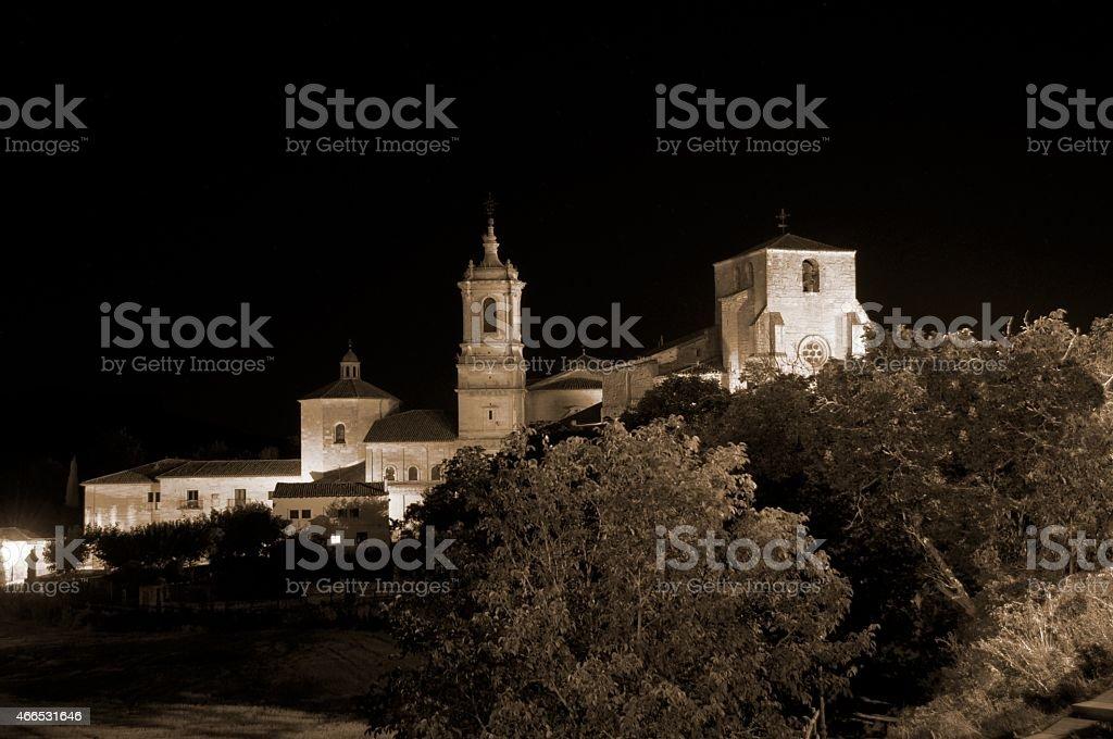 Night view of Santo Domingo de Silos stock photo