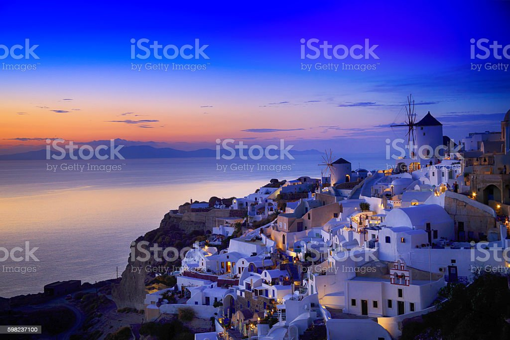 Night view of Santorini island, Greece stock photo