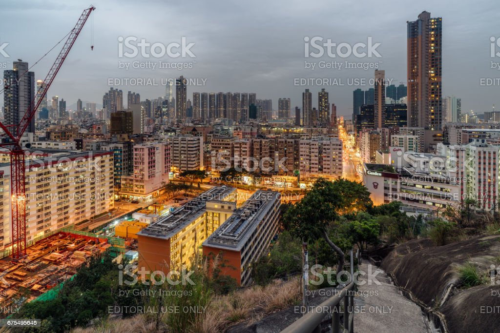 Night View of Sham Shui Po stock photo