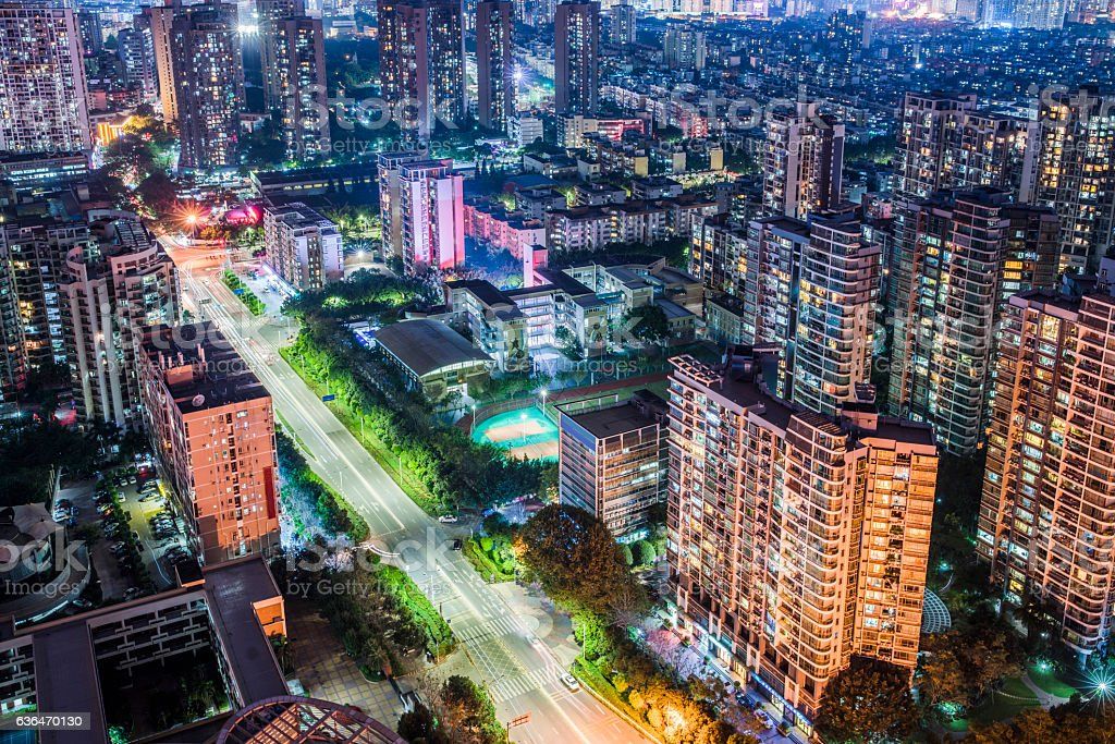 Night view of Shenzhen city skyline stock photo