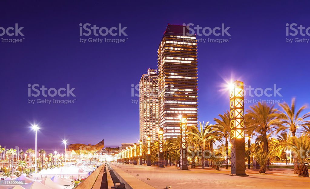 night view of skyscrapers at Barcelona royalty-free stock photo
