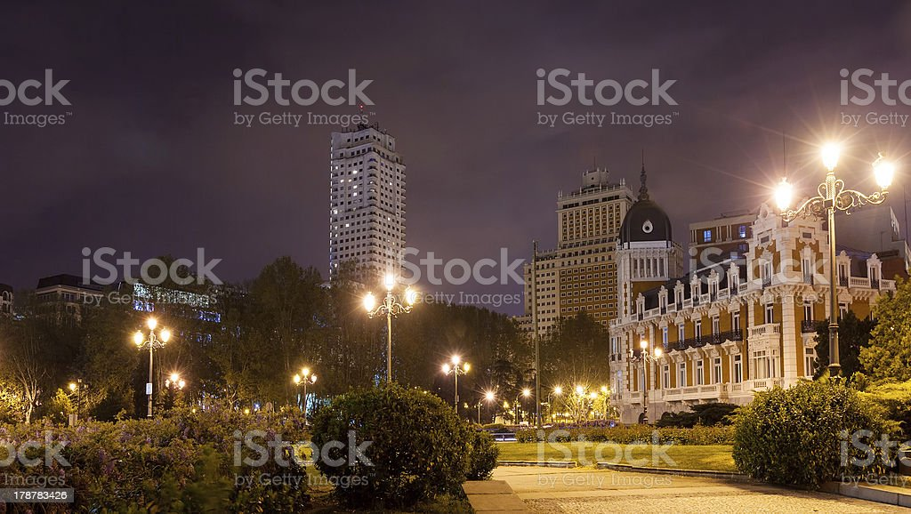 Night view of Spain Square -  Madrid royalty-free stock photo